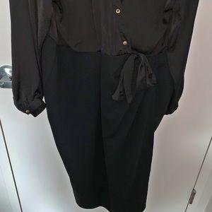 Deep V Black Pencil Skirt Dress